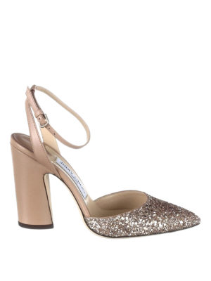 Jimmy Choo: sandals - Micky 100 glitter toe sandals
