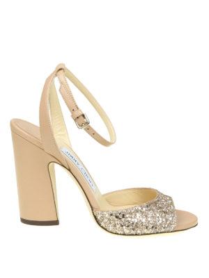 Jimmy Choo: sandals - Miranda 100 glitter band sandals