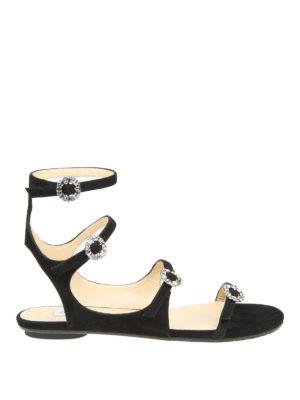 Jimmy Choo: sandals - Naia jewel buckled flat sandals