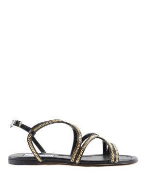 Jimmy Choo: sandals - Nickel Flat sandals with chain