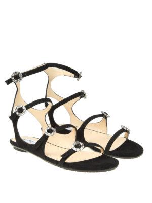 Jimmy Choo: sandals online - Naia jewel buckled flat sandals