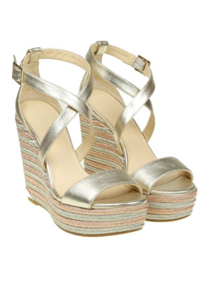 Jimmy Choo: sandals online - Portia 120 metallic leather wedges