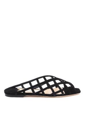 JIMMY CHOO: sandals - Sai suede flat sandals