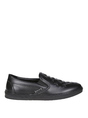 JIMMY CHOO: sneakers - Sneaker slip on Grove nere in pelle