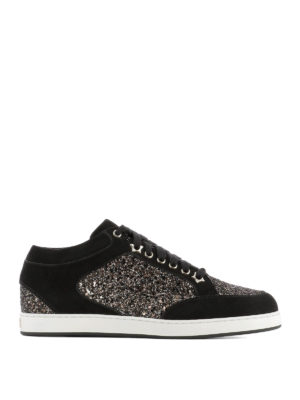 Jimmy Choo: trainers - Miami bronze glitter sneakers