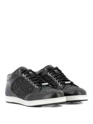 Jimmy Choo: trainers online - Miami glitter and leather sneakers