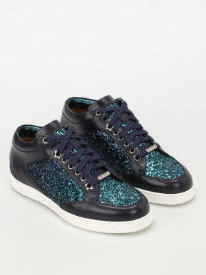 Jimmy Choo: trainers online - Miami leather and glitter sneakers