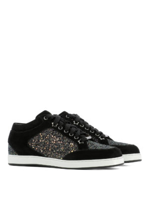 Jimmy Choo: trainers online - Miami suede and glitter sneakers