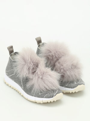 Jimmy Choo: trainers online - Norway fox fur trim slip-on shoes