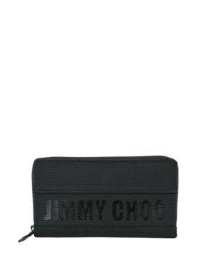 JIMMY CHOO: portafogli - Portafoglio nero Carnaby con cerniera