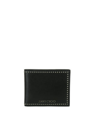 Jimmy Choo: wallets & purses - Mark studded satin leather wallet