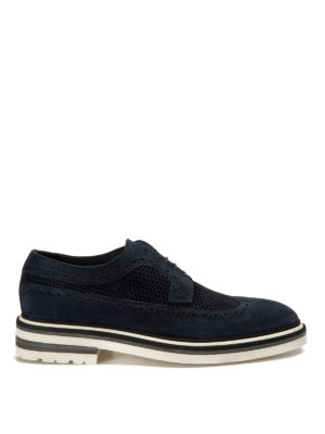 John Richmond: lace-ups shoes - Drilled suede Derby brogue shoes