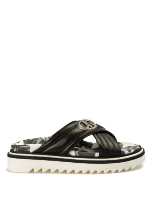 John Richmond: sandals - Leather crisscrossed bands slippers
