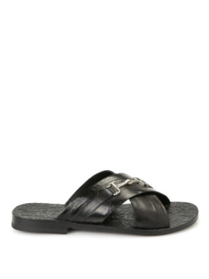 John Richmond: sandals - Logo detail leather sandals