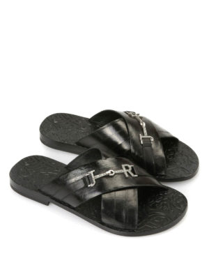 John Richmond: sandals online - Logo detail leather sandals