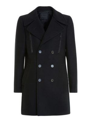 John Richmond: short coats - Black wool double-breasted coat