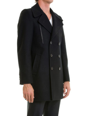 John Richmond: short coats online - Black wool double-breasted coat