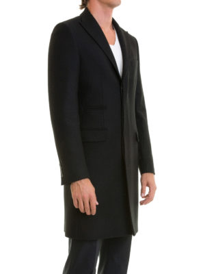 John Richmond: short coats online - Black wool single-breasted coat