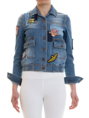 Just Cavalli: denim jacket online - Patch detailed denim jacket