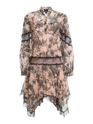 Just Cavalli: knee length dresses - Lace detailed floral cotton dress