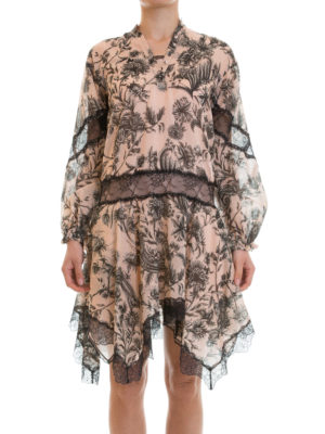 Just Cavalli: knee length dresses online - Lace detailed floral cotton dress