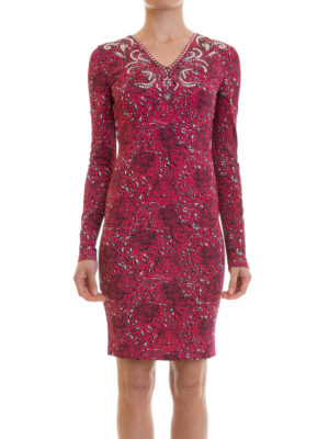 Just Cavalli: knee length dresses online - Rhinestone-embellished jersey dress