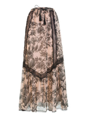 Just Cavalli: Long skirts - Lace detailed floral cotton skirt