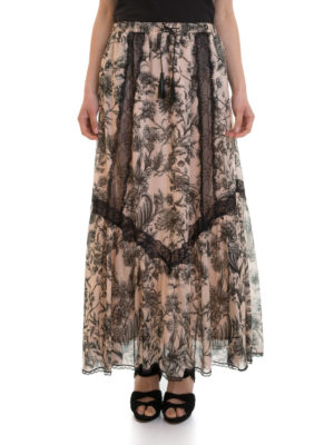 Just Cavalli: Long skirts online - Lace detailed floral cotton skirt