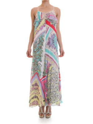 Just Cavalli: maxi dresses online - Patterned silk crepe long dress