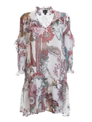 Just Cavalli: short dresses - Frilled patterned crepe dress