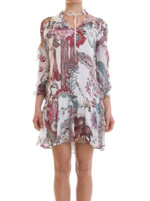 Just Cavalli: short dresses online - Frilled patterned crepe dress