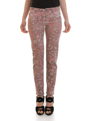 Just Cavalli: straight leg jeans online - Patterned waxed denim jeans