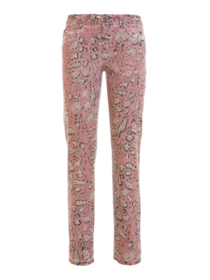 Just Cavalli: straight leg jeans - Patterned waxed denim jeans