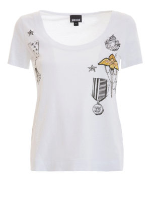Just Cavalli: t-shirts - Scoop neck crop embellished Tee