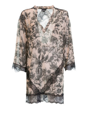 Just Cavalli: tunics - Lace detailed floral cotton kaftan
