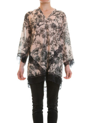 Just Cavalli: tunics online - Lace detailed floral cotton kaftan