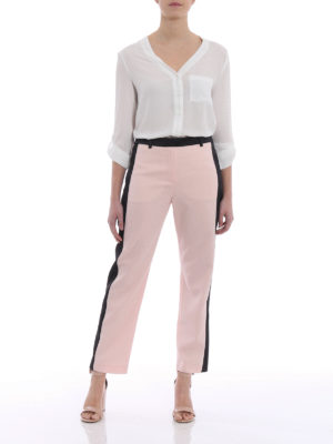 Karl Lagerfeld: casual trousers online - Satin bands wool trousers