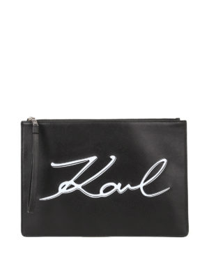 Karl Lagerfeld: clutches - K/Signature leather pouch bag