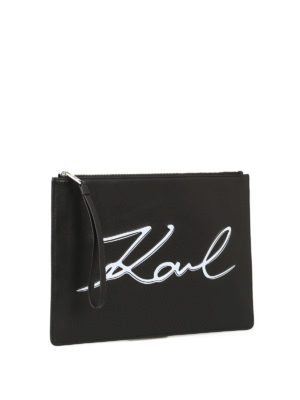 Karl Lagerfeld: clutches online - K/Signature leather pouch bag
