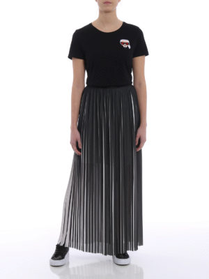 Karl Lagerfeld: Long skirts online - Optical effect pleated maxi skirt