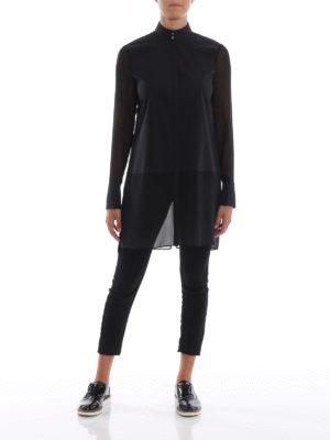 KARL LAGERFELD: camicie online - Camicia lunga nera in popeline e georgette
