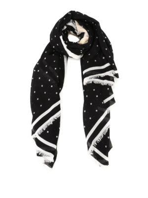 Karl Lagerfeld: scarves - K/Ikonik dotted silk blend scarf