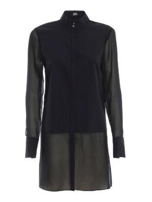 KARL LAGERFELD: camicie - Camicia lunga nera in popeline e georgette