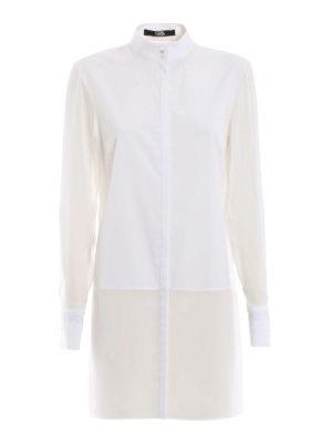 KARL LAGERFELD: camicie - Camicia lunga in popeline e georgette