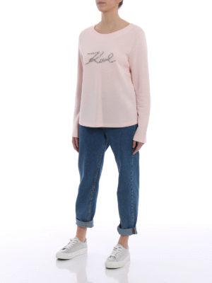 Karl Lagerfeld: Sweatshirts & Sweaters online - Rhinestone logo pink sweatshirt