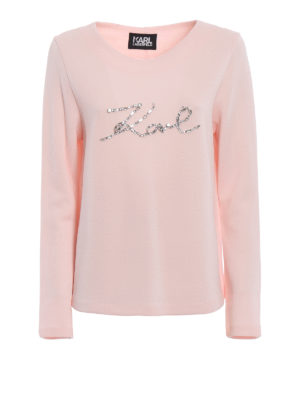 Karl Lagerfeld: Sweatshirts & Sweaters - Rhinestone logo pink sweatshirt