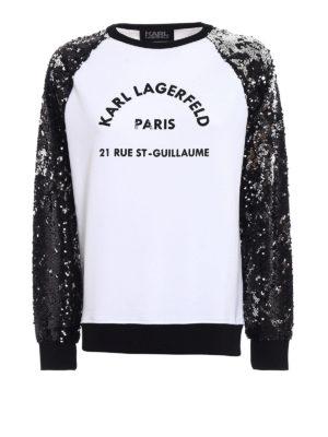 Karl Lagerfeld: Sweatshirts & Sweaters - Sequined sleeve sweatshirt