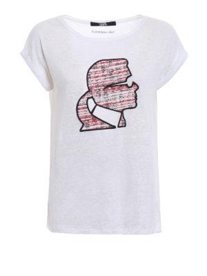 Karl Lagerfeld: t-shirts - Bouclé Karl profile linen T-shirt