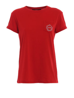 KARL LAGERFELD: t-shirts - Chest pocket red cotton T-shirt