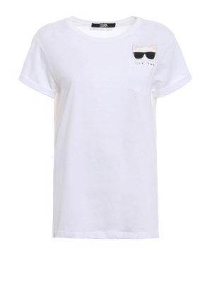 Karl Lagerfeld: t-shirts - Ikonik Choupette white T-shirt